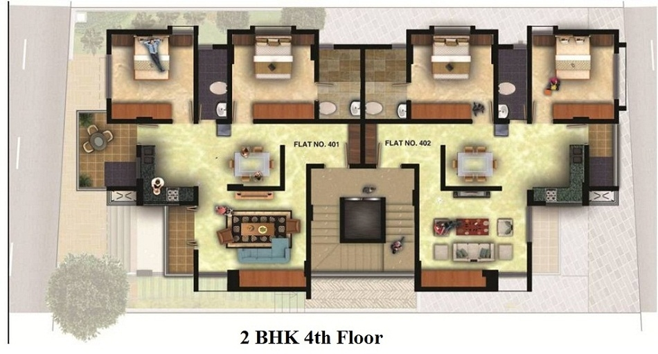 2 BHK - 4th Floor