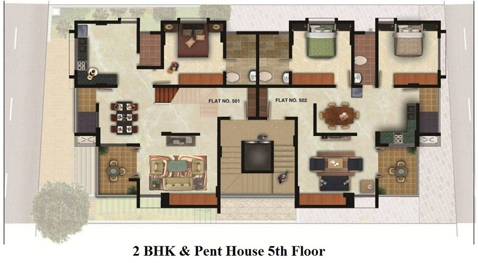 2 BHK & Pent House - 5th Floor